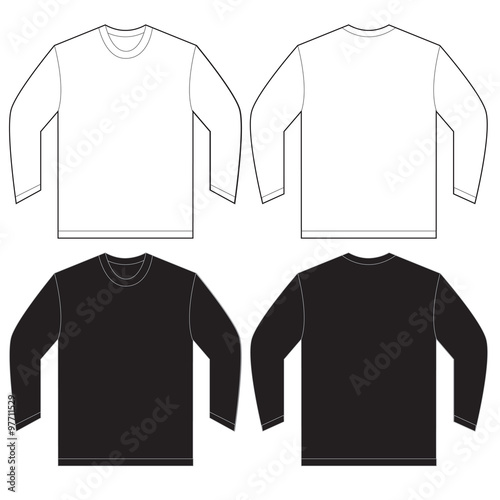 black white long sleeve t shirt design template stock image and