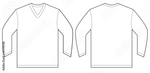 white long sleeve v neck shirt design template stockfotos und lizenzfreie vektoren auf fotolia. Black Bedroom Furniture Sets. Home Design Ideas