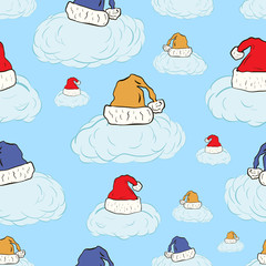 Seamless clouds in Christmas caps