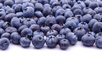 Group of fresh blueberries isolated on white