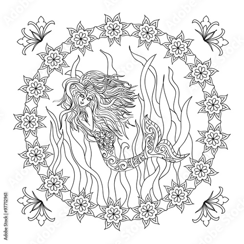 mermaid zentangle coloring page stock photo and royalty free