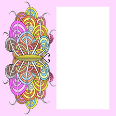 Background frame with abstract butterfly
