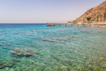 Beach of Eilat city, Red Sea, Israel