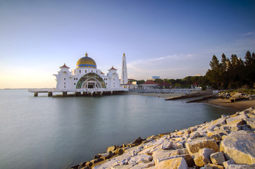 Majestic view of beautiful Malacca Straits Mosque during sunset