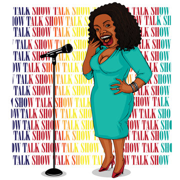 Talk show host Comics Dark MC women Ethnicity Africa stood talking in front of the microphone