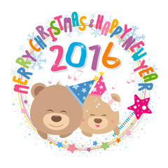 Couple teddy bear with merry christmas and happy new year 2016