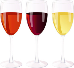 Three isolated glass of wine on a white background.