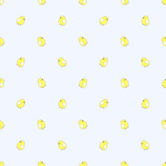 Seamless vector pattern with animals, cute background with little chiсkens, over light backdrop