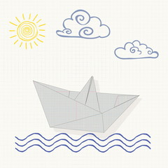 illustration origami paper boat