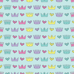 Seamless colorful vector background with decorative crowns