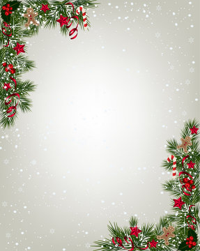 Christmas background with fir and snowflakes