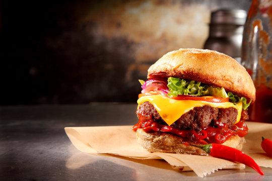 Red hot chili cheeseburger