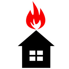 Black silhouette of  house with red flame like as conflagration