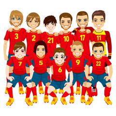 Illustration of male professional soccer players team in red uniform isolated on white background