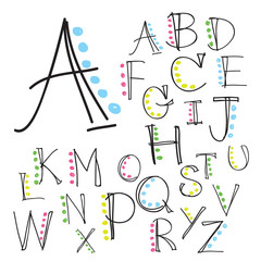 Black colorful alphabet uppercase letters.Hand drawn written