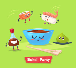 Sushi party. Soy sauce and sushi roll. Japanese food. Vector cartoon