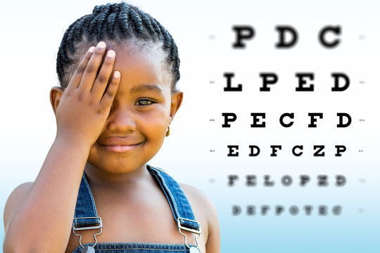 African girl testing vision.
