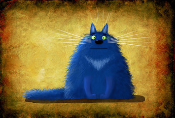 Blue Cat Sitting on Background Painted Leather