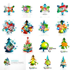 Set of various geometric abstract Christmas concepts