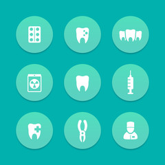 Teeth aquamarine icons, dental care, tooth cavity, toothcare, stomatology, vector illustration