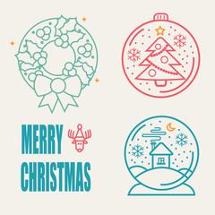 Christmas Symbols set. Snow Ball, Crhistmas tree and Christmas b