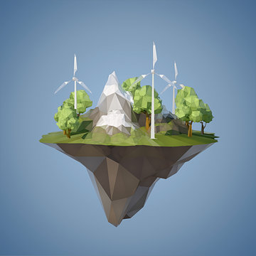 Ecology concept with low poly island with windmills trees, mountains and grass