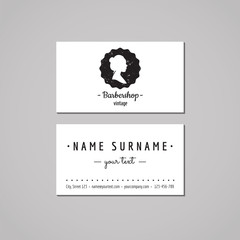 Barbershop business card design concept. Barbershop logo-badge with hair bun woman profile. Vintage, hipster and retro style. Black and white. Hair salon business card.