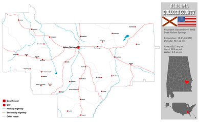 Large and detailed map and infos about Bullock County in Alabama.