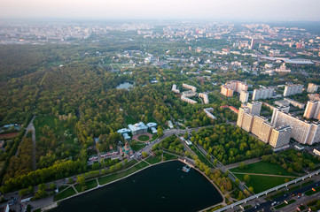 BiBird's eye view on Sheremetyevo homestead and Ostankino district and VDNH in Moscow Russia