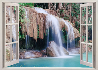 Open window view to Erawan Falls, Thailand