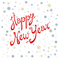 Happy New Year. Lettering holiday, celebration, card, greeting 2016