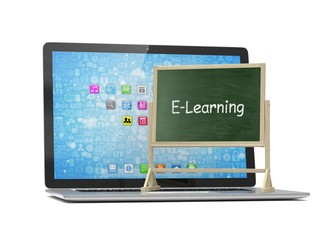 Laptop with chalkboard, e-learning, online education concept