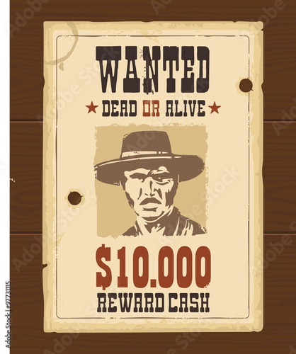 vector vintage western retro wanted poster template old paper