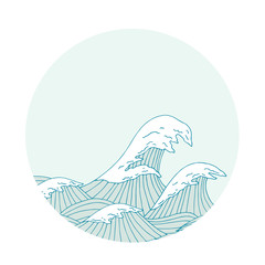 Sea waves hand drawn sketch, japanese style illustration