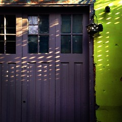 Lighting effects on doors in the alley