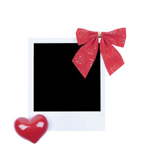 Photo frame with red christmas tie