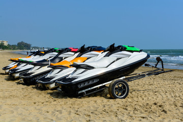 Printed roller blinds Water Motor sports Jetski on the beach for rent