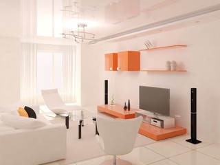 Minimalist orange living room.