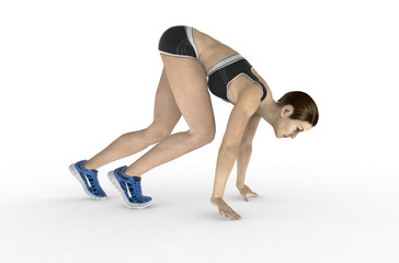 athletic woman crouched starting position ready to start running