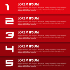 red modern design business horizontal banners with numbers eps10