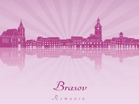 Brasov skyline in purple radiant orchid