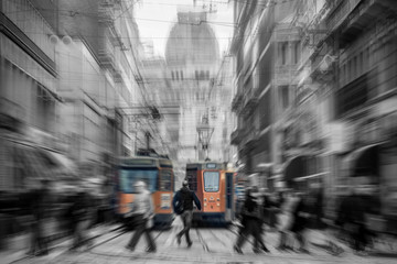 Tuinposter Milan tram in Milan city Italy - moved black and white photo