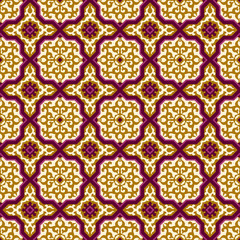 Seamless background image of elegant purple cross Islam pattern.