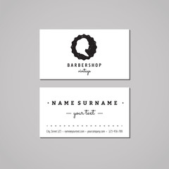 Barbershop business card design concept. Barbershop logo-badge with wavy long hair woman profile. Vintage, hipster and retro style. Black and white. Hair salon business card.