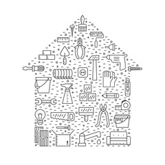 Home repair and construction outline gray vector background. Modern minimalistic design. House shape poster. Icons set.