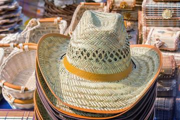Woven straw unisex hat.