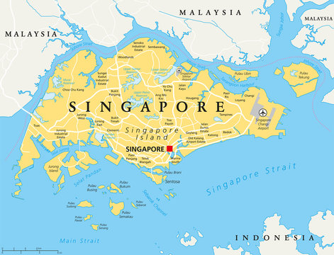 Singapore island political map with capital Singapore, national borders and important cities. English labeling and scaling. Illustration.