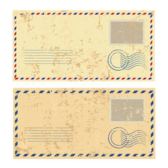 Two colorred grunge envelopes
