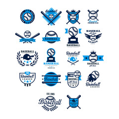 Vector Set Of Baseball Badge Collection