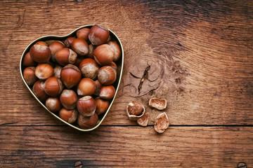 hazelnuts in bowl shape heart